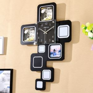 Modern Simple Style Creative Clock Children Room Living Room Photo Frame Wall Clock Black White 2 Options