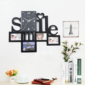 Modern Simple Style Smile Creative Clock Children Room Living Room Photo Frame Wall Clock Black White 2 Options