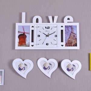 Modern Simple Style Love Heart Creative Clock Children Room Living Room Photo Frame Wall Clock Red Pink White 3 Options