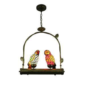 Tiffany Pendant Light Glass Parrot Shade European Pastoral Retro Style Bedroom Living Room Dining Room Light 2 Lights