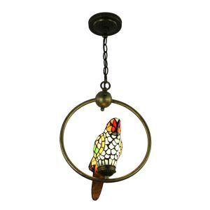 Tiffany Pendant Light Glass Parrot Shade European Pastoral Retro Style Bedroom Living Room Dining Room Light