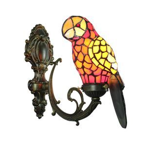 Tiffany Sconce Glass Parrot Shade European Pastoral Retro Style Bedroom Living Room Dining Room Kitchen Light