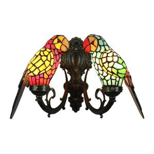 Tiffany Sconce Glass Parrot Shade European Pastoral Retro Style Bedroom Living Room Dining Room Kitchen Light 2 Lights