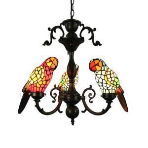 Tiffany Chandelier Glass Parrot Shade European Pastoral Retro Style Bedroom Living Room Dining Room Light 3 Lights