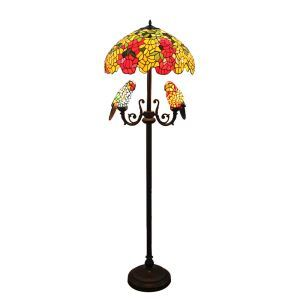 Tiffany Floor Lamp European Pastoral Retro Style Glass Parrot and Colorful Flowers Glass Lampshade Bedroom Living Room Dining Room Light 5 Lights