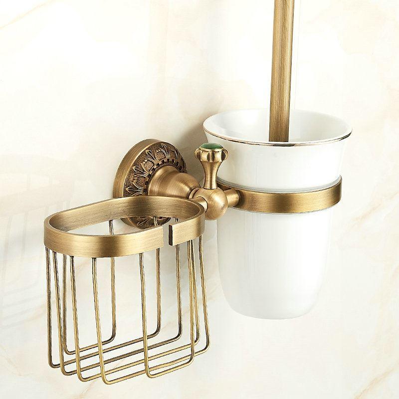 European Antique Copper Bronze Toilet Brush Holder
