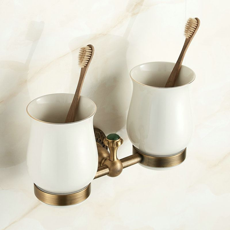 European Antique Bronze Toothbrush Cup Holder Double Cup