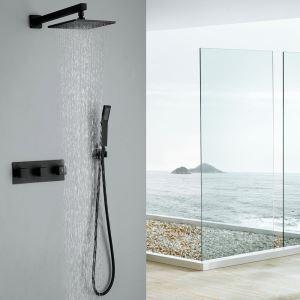 European Retro Faucet Copper Black Baking Paint Craft Bathroom Shower Faucet 5 Holes