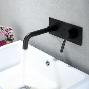 Black Wall Mounted Wall-Mount Sink Faucet for Bathroom 2 Holes Single Handle