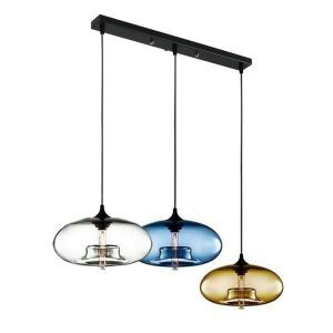 (In Stock) Modern Glass Pendant Lights Colorful Concave Oval Dining Room Living Room Bedroom Ceiling Lights(Color of Love)