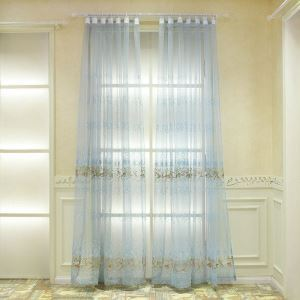 European Sheer Curtains Pastoral Style Polyester Jacquard Embroidery Sheer Curtains Living Room Blue Sheer Curtain