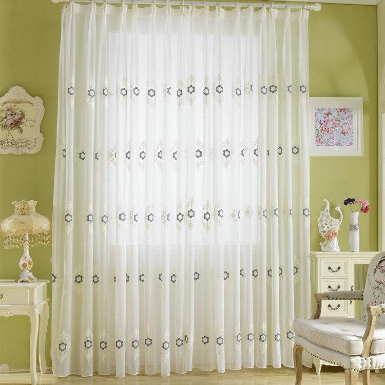 Modern Sheer Curtain Simple Embroidery Sheer Curtain Black