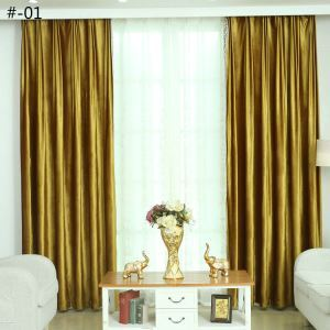 European Simple Curtain Polyester Fabric Italian Velvet Living Room Decoration Curtain 2 Colors Available