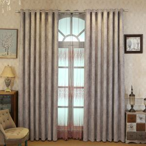 European Simple Curtain Embroidered Curtains Linen Fabric Living Room Decorative Curtain Purple Embroidery