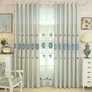 European Simple Curtain Embroidered Curtains Linen Fabric Living Room Decorative Curtain