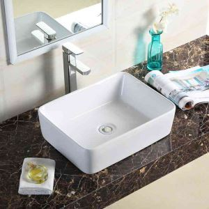 Rectangular Bathroom Face Basin Modern Ceramic White Sink White Sink 48.5cm (Without Faucet)