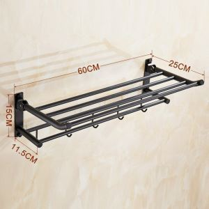 Towel Rack for Bathroom Oil Rubbed Bronze Craft Black Retro with Hooks Towel Bar