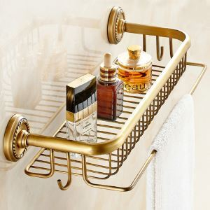 Bath Shelf for Bathroom Copper Brushed Finish Retro with Hook Towel Rack
