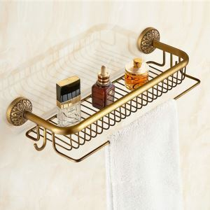 Bath Shelf for Bathroom Copper Brushed Finish Retro with Hooks Towel Rack