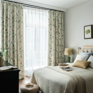 Blackout Curtain American Simple Curtain Green Leaves Printed Curtain Living Room Bedroom Cotton and Linen Curtain