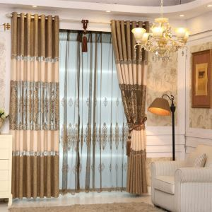 Embroidery Curtain Luxury European Environment Protective Cotton and Linen Curtain