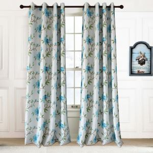 Thermal Insulated Blackout Curtain Modern Blue Printing Room Darkening Curtain Panel