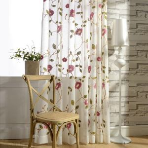 Modern Minimalist Voile Curtain Panel Linen Window Sheer Pink Leaf Embroidery