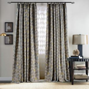 American Blackout Curtain Grey Printing Room Darkening Window Door Curtain