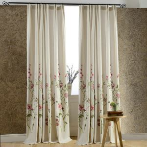 Modern Linen Blackout Curtain Minimalist Red Flower Embroidered