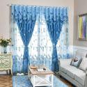 Modern Voile Curtain Panle Thicken Sheer Blue Jacquard