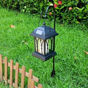 Solar Candle Hanging Lantern Outdoor Decorative Solar Powered Candle Light LEH-55142G