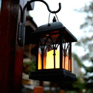 Solar Candle Hanging Lantern Outdoor Decorative Solar Powered Candle Light LEH-55142W
