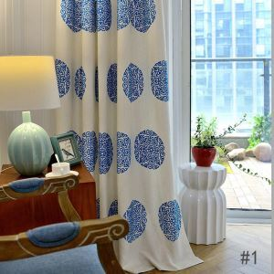 Thermal Insulated Blackout Curtain Minimalist Embroidered Window Treatment