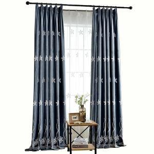 Starfish Blackout Curtain Minimalist Style Embroidery Kids Room Window Curtain Panel Blue Pink