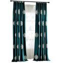Green Velvet Blackout Curtain Luxurious Embroidered Room Darkening Curtain Panel