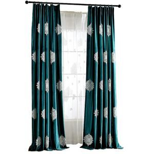 Green Velvet Blackout Curtain Luxurious Embroidered Room Darkening Curtain Panel