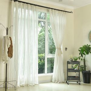 Thick Linen Voile Curtain Modern Minimalist Stripes Jacquard Sheer Curtain Office