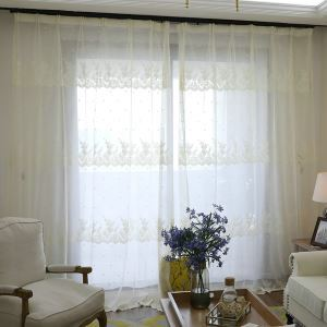 Lovely Lace Sheer Curtain Minimalist Jacquard Voile Curtain Panel Kids Bedroom