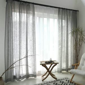 Grey Sheer Curtain Breathable Solid Color Voile Curtain Panle Living Room Bedroom