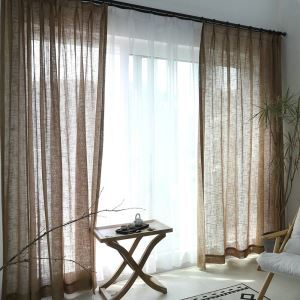 Brown Sheer Curtain Classic Voile Curtain Panle for Living Room Bedroom