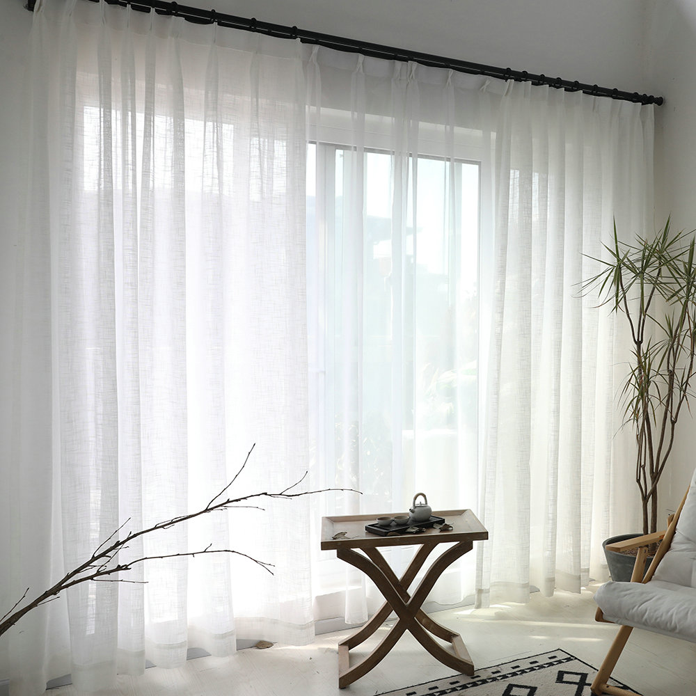 White Sheer Curtain Solid Color All Match Voile Curtain Living Room Bedroom One Panel