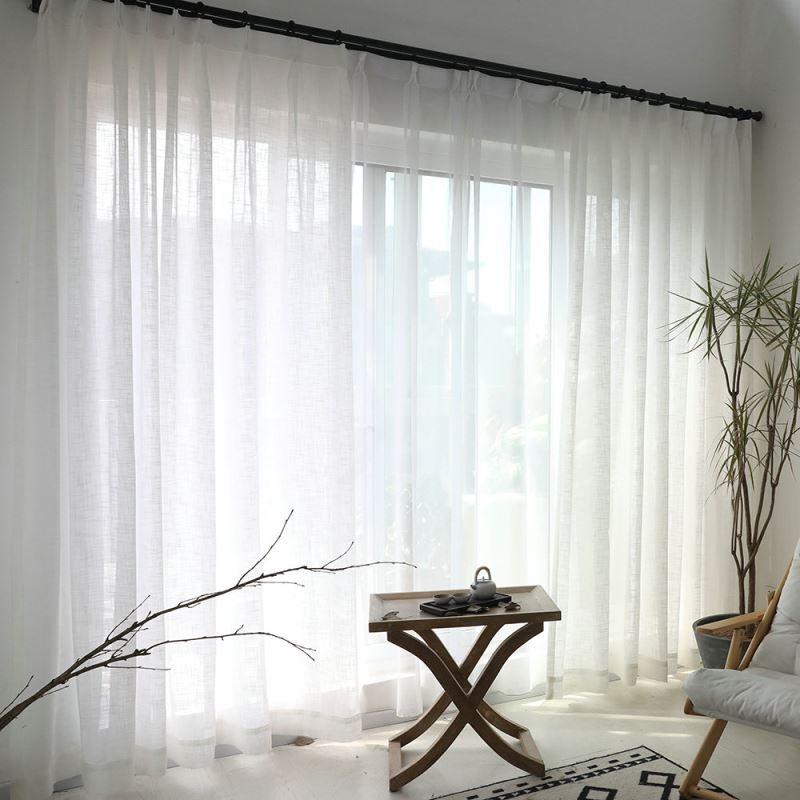 White Sheer Curtain Solid Color All-match Voile Curtain ...