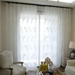 Feather Embroidery Sheer Curtain Minimalist Voile Curtain Panel
