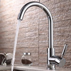 Classic Solid Brass Kitchen Faucet - Chrome Finish