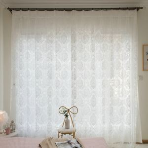 Flower Lace Sheer Curtain European Classic Jacquard Voile Curtain Panel for Lliving Room