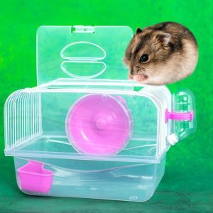 Portable Hamster Cage House Hamster Outdoor Travel Carrier Red