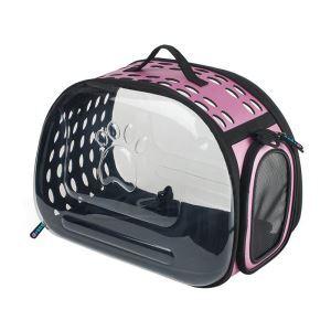 Foldable Transparent Pet Carrier Case Pet Travel Bag Clear Pink