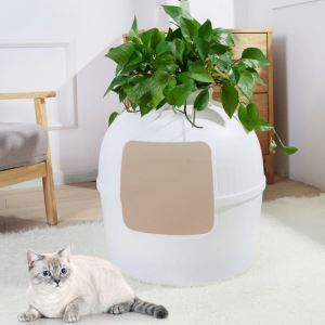 Four Seasons Cat House Plastic Half Closed Cat Kennel Small House White