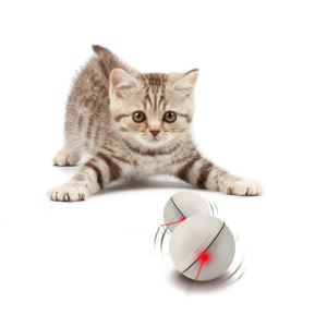 Interactive Cat Toy 360 Degree Self  Rotating Ball Automatic Light Toy For Pet White