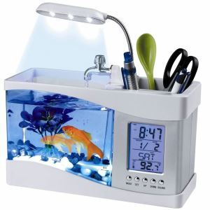 Desktop Fish Tank Mini Fish Bowl Aquarium with LED Clock White